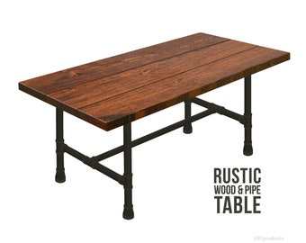 Industrial Pipe Table Style, Urban Table, Rustic Wood And Pipe Table,  Industrial Dining Table, Plumbing Pipe Table, Farmhouse Harvest Table