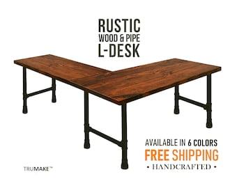 L Shaped Desk, L-Desk, Industrial Style Pipe and Wood Desk, Corner Desk Desk Rustic Wood Desk Urban Wood Desk, Office Work Station Desk