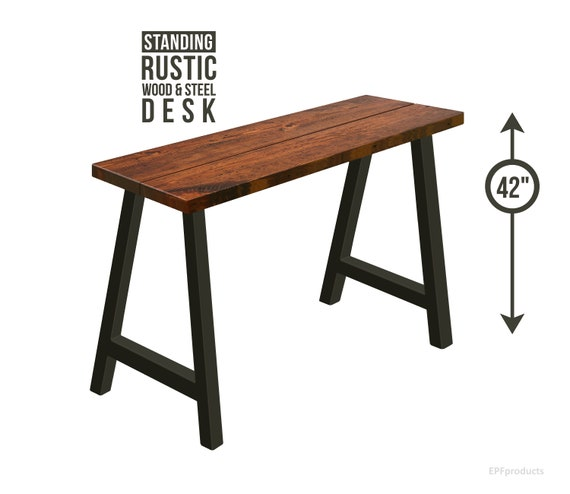rustic industrial desk retro image standing desk alegs modern industrial height etsy