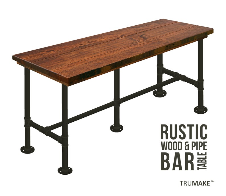Bar Table 36 Tall Counter Height Industrial Style Bar Table Pub Table Pipe Leg Bar Table Rustic Wood And Pipe Urban Wood Bar Table