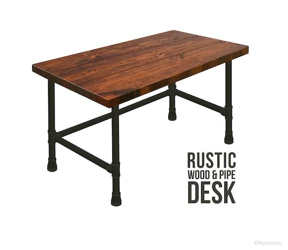 Beau Desk Rustic Pipe Desk Industrial Style Desk Rustic Wood   Etsy