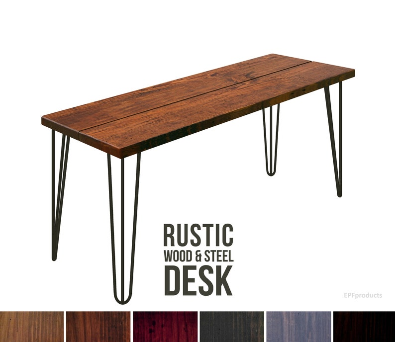 Urban Wood and Steel Desk Farmhouse Desk Hairpin Leg Desk Industrial Style Rustic Steel Leg Vintage Desk Solid Wood Desk Table