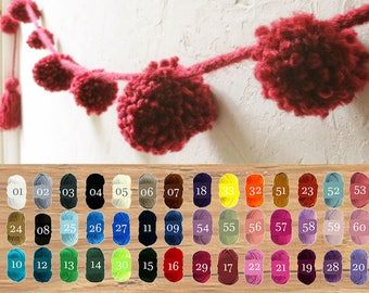 Pom pom Garland in 46 colors yarn /  Boho custom garland / Home Wedding Party Decor / Bulky wall hanging / Red cyclamen - 11.5ft / 3,5 m
