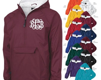 Set of 4 Monogrammed Personalized Half Zip Rain Jacket Pullover by Charles River Apparel