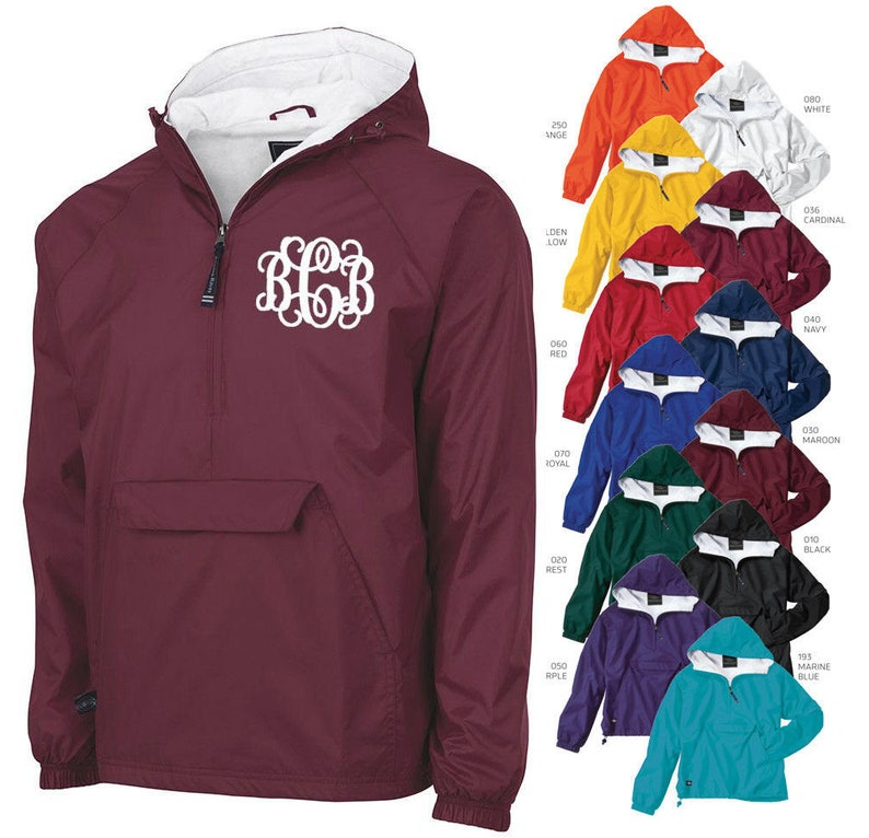 Set of 4 Monogrammed Personalized Half Zip Rain Jacket image 0