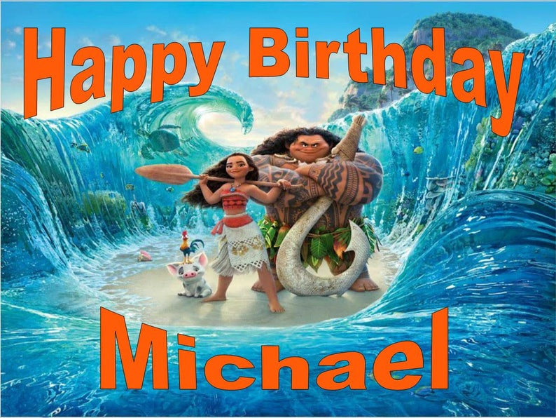 """Moana Round Iced Icing Personalised Cake Topper 7.5/"""" Cupcake Tops"""