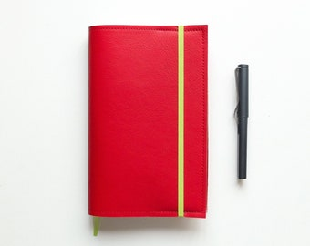 Apple Red Moleskine L Cover / Leather Cover for Moleskine Large size Planners and Notebooks