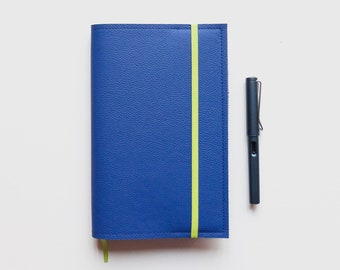 Electric Blue Moleskine L Cover / Leather Cover for Moleskine Large size Planners and Notebooks