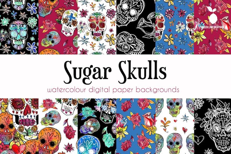 Sugar Skulls Digital Paper Day of the Dead Pattern image 0