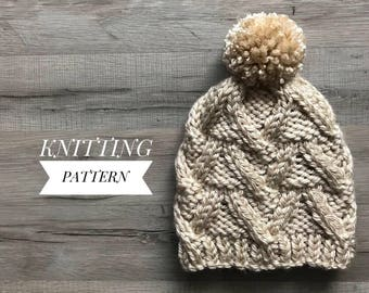 Branched Cable Beanie Pattern / Knitting Pattern / pdf Pattern / Chunky Hat Pattern / Chunky Beanie Pattern / pdf