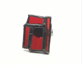 Red stained glass ring