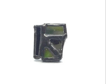 Black and green stained glass ring