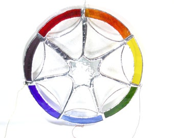 Stained glass dream sensor, chakra color sensor, window decoration