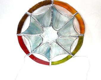 Stained glass dream catcher, autumn color sensor, Native American decoration inspiration