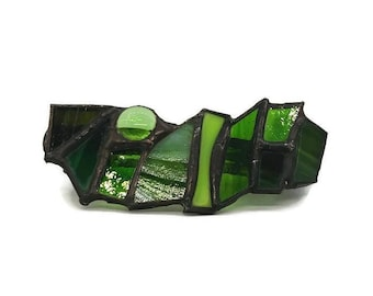 Stained glass hair bar, stained glass hair clip, shades of green
