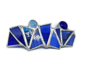 Stained glass hair bar, stained glass hair clip, shades of blue