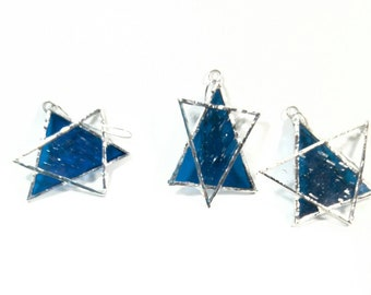 Christmas tree ornaments in stained glass, Christmas decorations in stained glass
