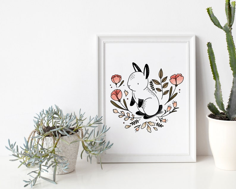Rabbit and Flower Garden  Poster / Card  Wall Decoration for image 0