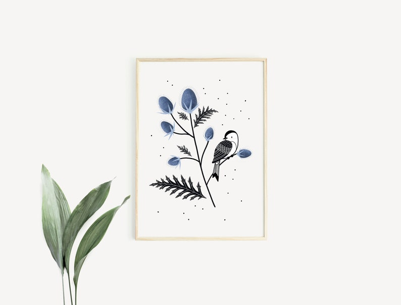 Bird & Thistles  Poster / Card  Wall Decoration for Babies image 0