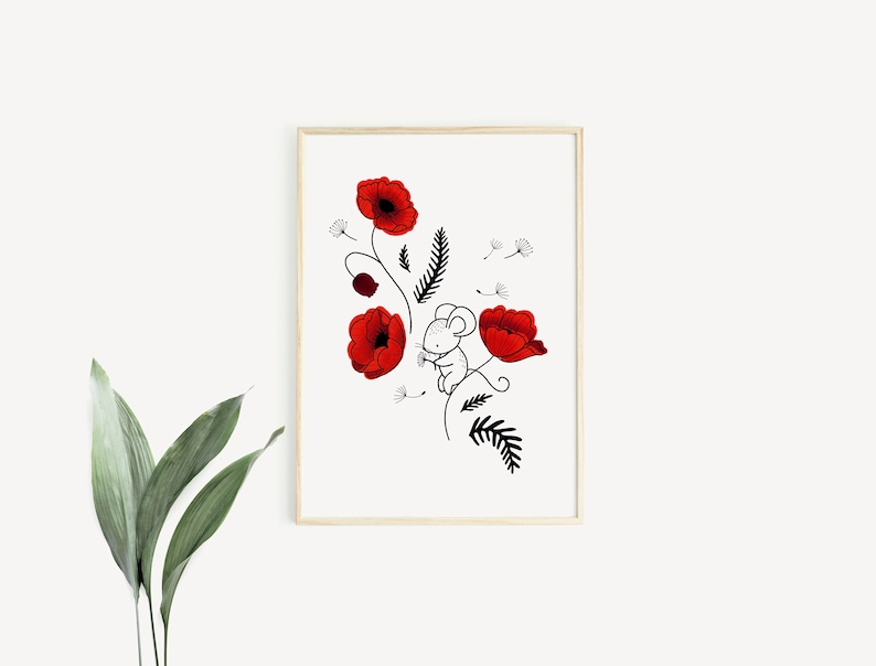 Mouse & Poppies  Poster / Card  Wall Decoration for Babies image 0