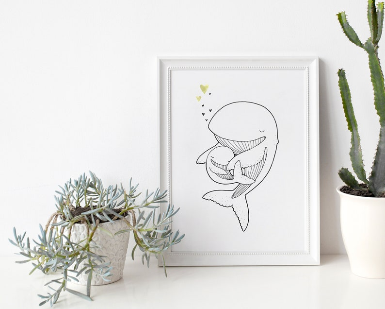 Whale and baby  Poster / Card  Wall Decoration for Babies image 0