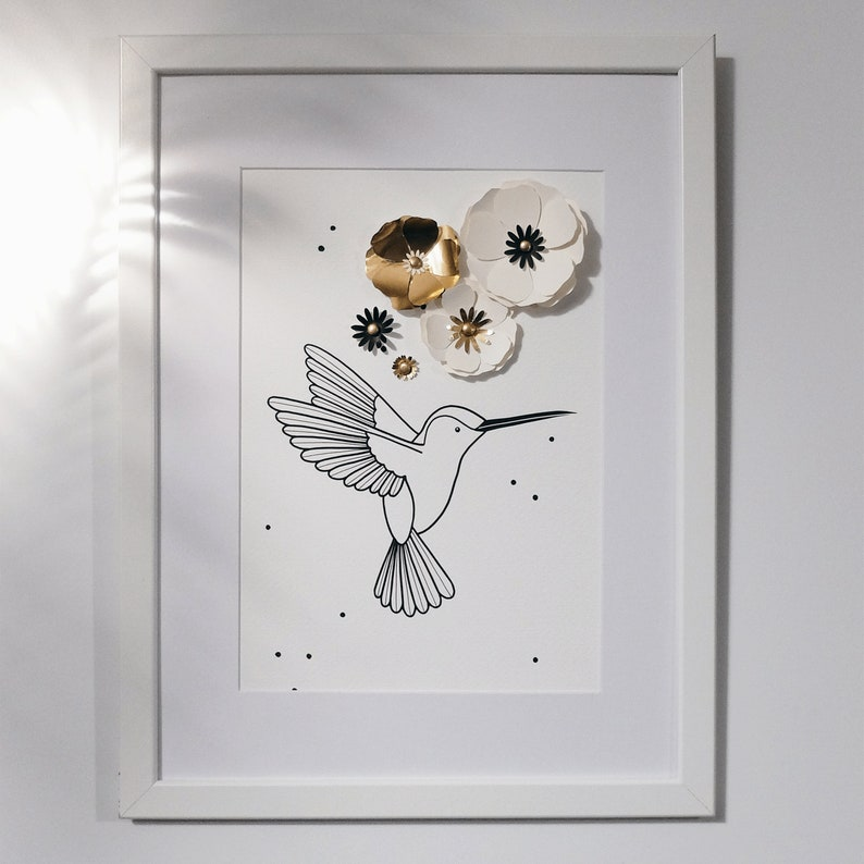 Hummingbird and handcut Flowers  Poster  Wall Decoration for image 0