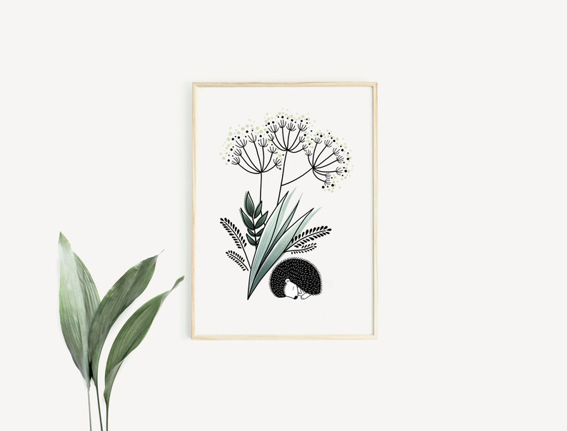 Hedgehog & Flowers bouquet  Poster / Card  Wall Decoration image 0