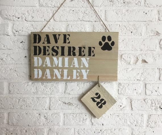 Ongekend Steigerhouten naambord met huisnummer hondenpoot afdruk | Etsy ST-96