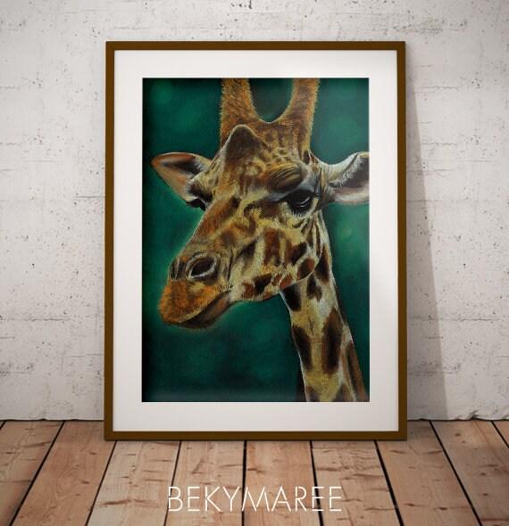 Giraffe Print, Original Sketch, Wall Art Decor, Animal Prints
