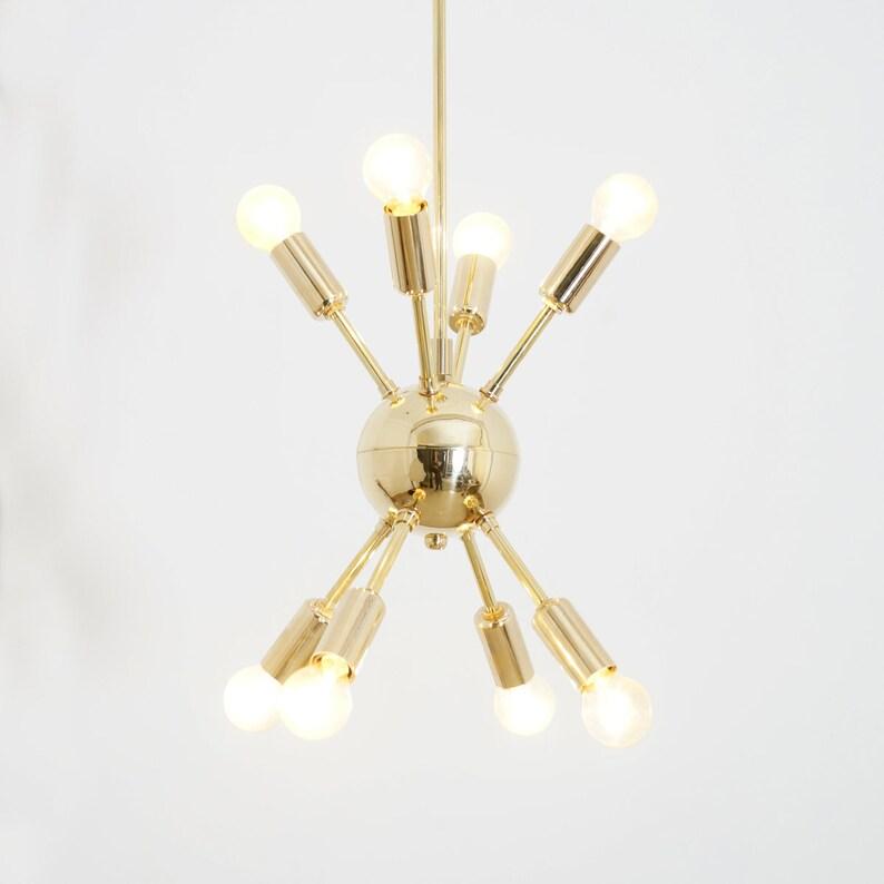 Polished Brass Mid Century 12 Arms Sputnik chandelier starburst light Fixture