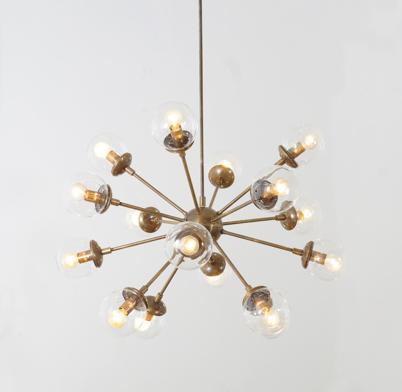 Modern brass 16 globe bistro sputnik chandelier light fixture sputnik starburst chandelier