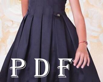 Dress PDF pattern - sizes 134, children's sewing pattern - Instant download