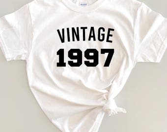 Vintage Custom Birthday Shirt Year Adult 21st Outfit Womens Retro 18th 30th 40th 50th