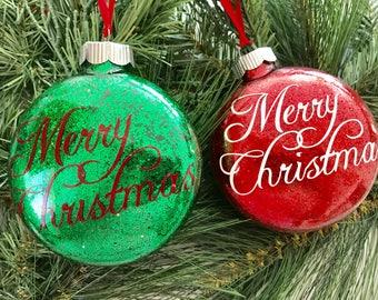 Handmade, Merry Christmas, Tree Ornament, Glitter Ornament, Vinyl, Christmas Tree Ornament, Tree Ornament, Christmas Decor / Christmas