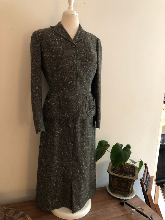 1940's  Huntleigh skirt suit and jacket wool boucl