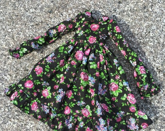 Black floral dress for Doll Chateau KID
