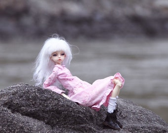 Pink cotton dress for bjd doll chateau kid k-7/k-11 body