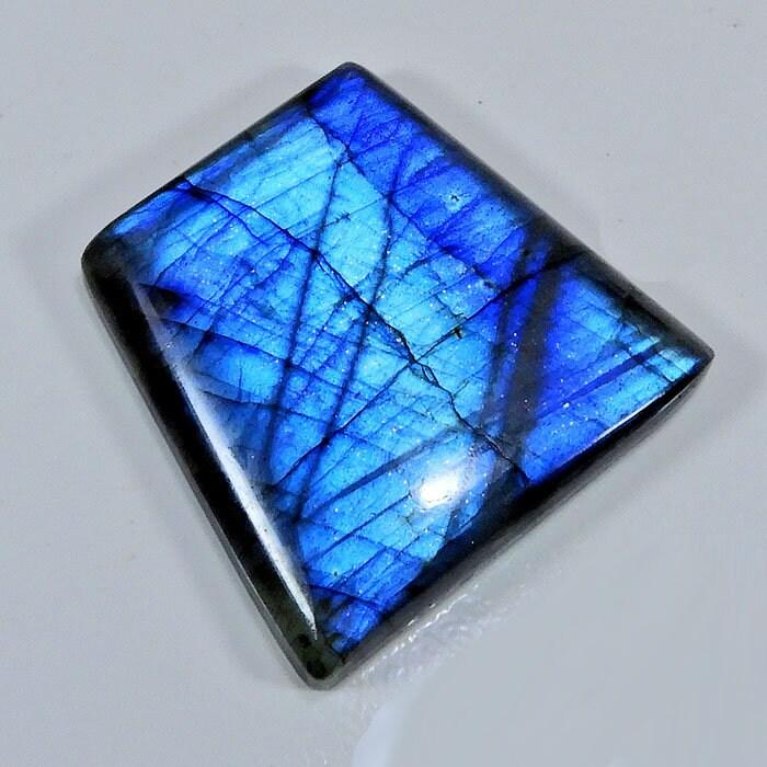 GRANDE TAILLE!! 123Crt naturel bleu Flash pierres Labradorite Cabochon fantaisie pierres Flash précieuses en vrac, A ++ Labradorite polie fantaisie pierres précieuses en vrac 35X44X08MM b97598