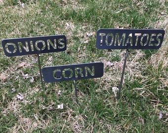 Metal Garden Stakes / Vegetable Stakes / Herb Marker / DIY Garden Decor / Outdoor Gardening / Garden Labels / Plant Markers