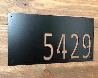 Modern Horizontal Metal House Number / Metal Address Sign / Address Numbers / Mailbox Sign