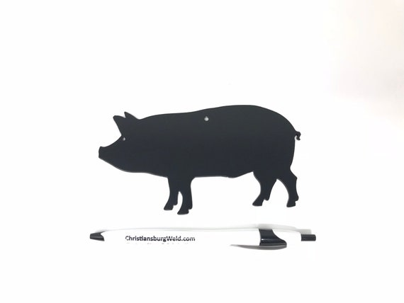 Country BBQ Pig Silhouette Hanging Metal Sign