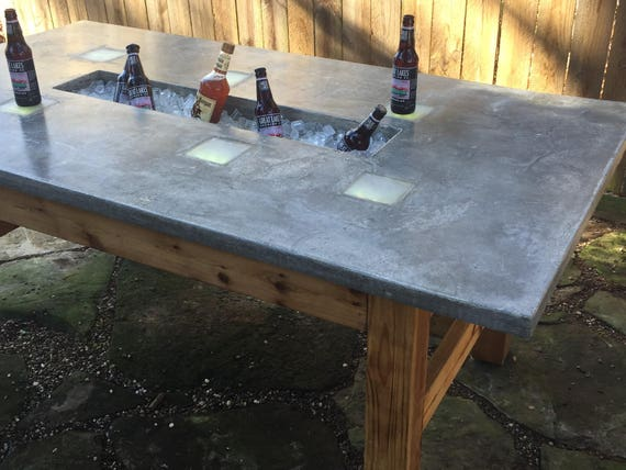 Outdoor Table W Ice Trough Amp Led Lights Etsy