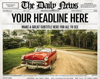 1 Page Newspaper Template Adobe Photoshop 11x17 Inch Etsy