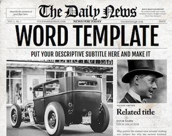 Newspaper invitation etsy 1 page newspaper template microsoft word 85x11 inch stopboris Choice Image