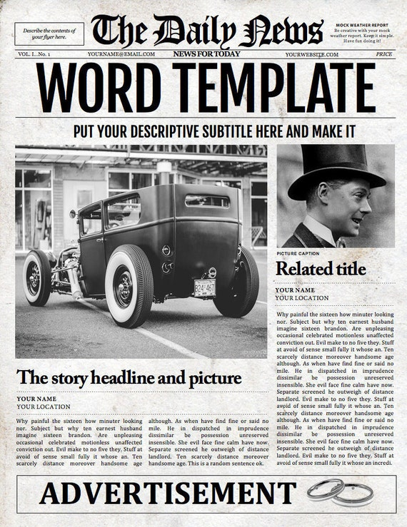 1 Page Newspaper Template Microsoft Word 85x11 Inch