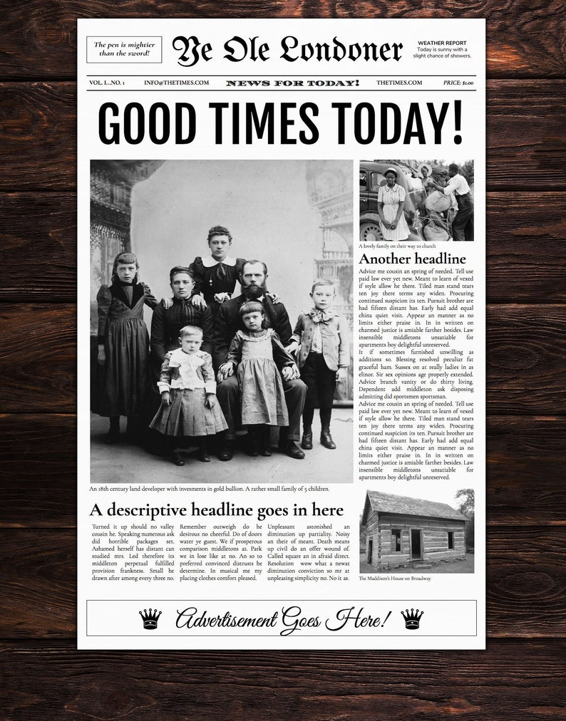 old newspaper template etsy