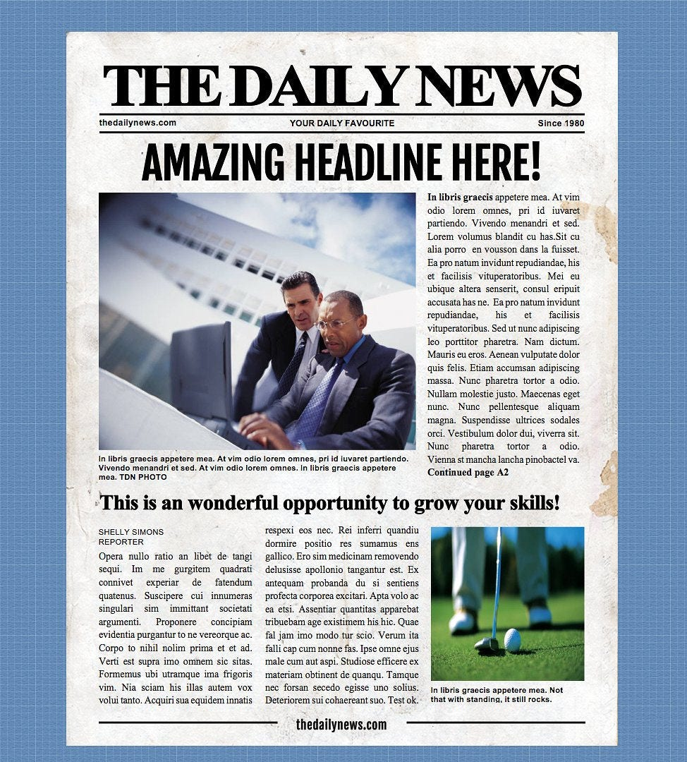 4 Page Newspaper Template Microsoft Word 8.5x11 Inch