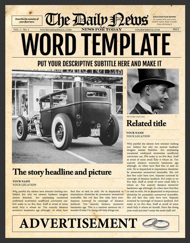 1 Page Newspaper Template Microsoft Word 85x11 Inch Etsy