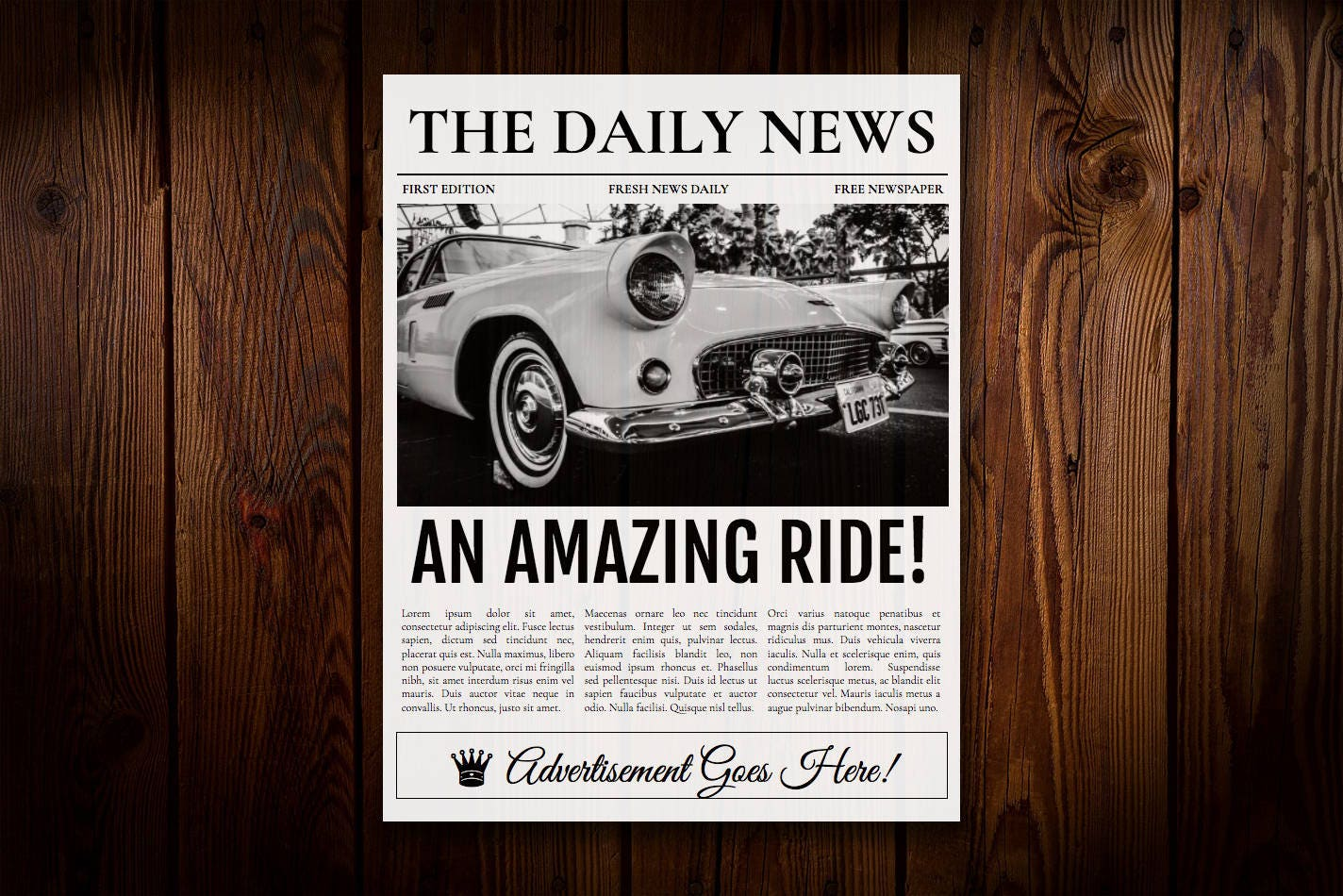 1 Page Newspaper Template Google Docs 85x11 Inch Etsy