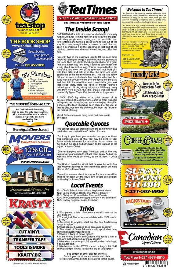 2 Page Newspaper Template Adobe Illustrator 11x17 Inch Etsy